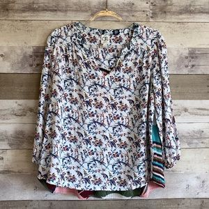 One September Anthro Caia Floral Pleat Blouse